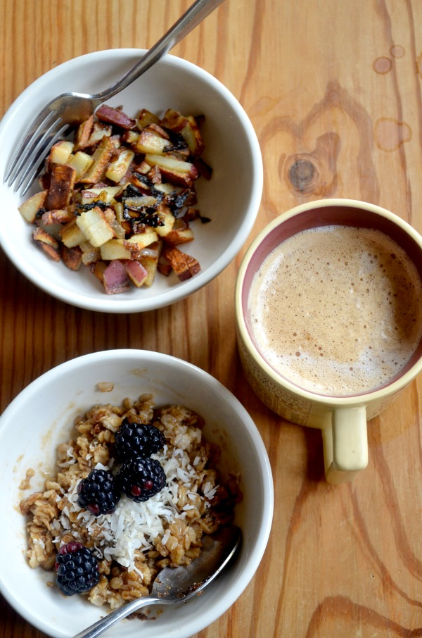 brown sugar oatmeal & home fries